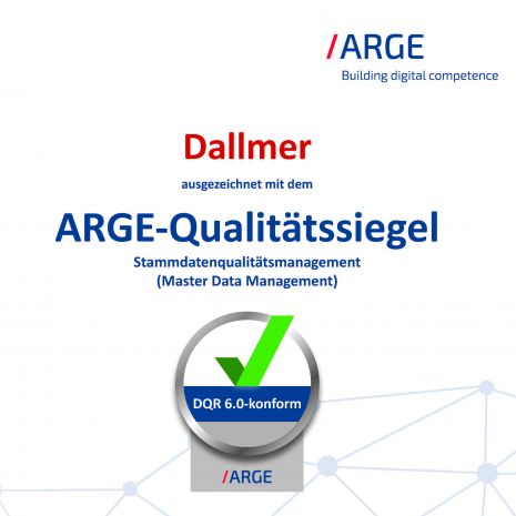 Optimal master data - Dallmer awarded the ARGE seal of quality