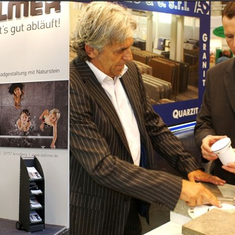 Professional drainage of natural stone showers - keen interest in Dallmer at Stone+tec 2011